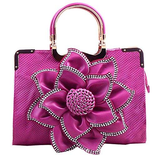 Las Mujeres De Las Mujeres Rhinestone De La Manera Florece Los Bolsos De Gran Capacidad Retro Messenger Bag Shoulder Bag A1