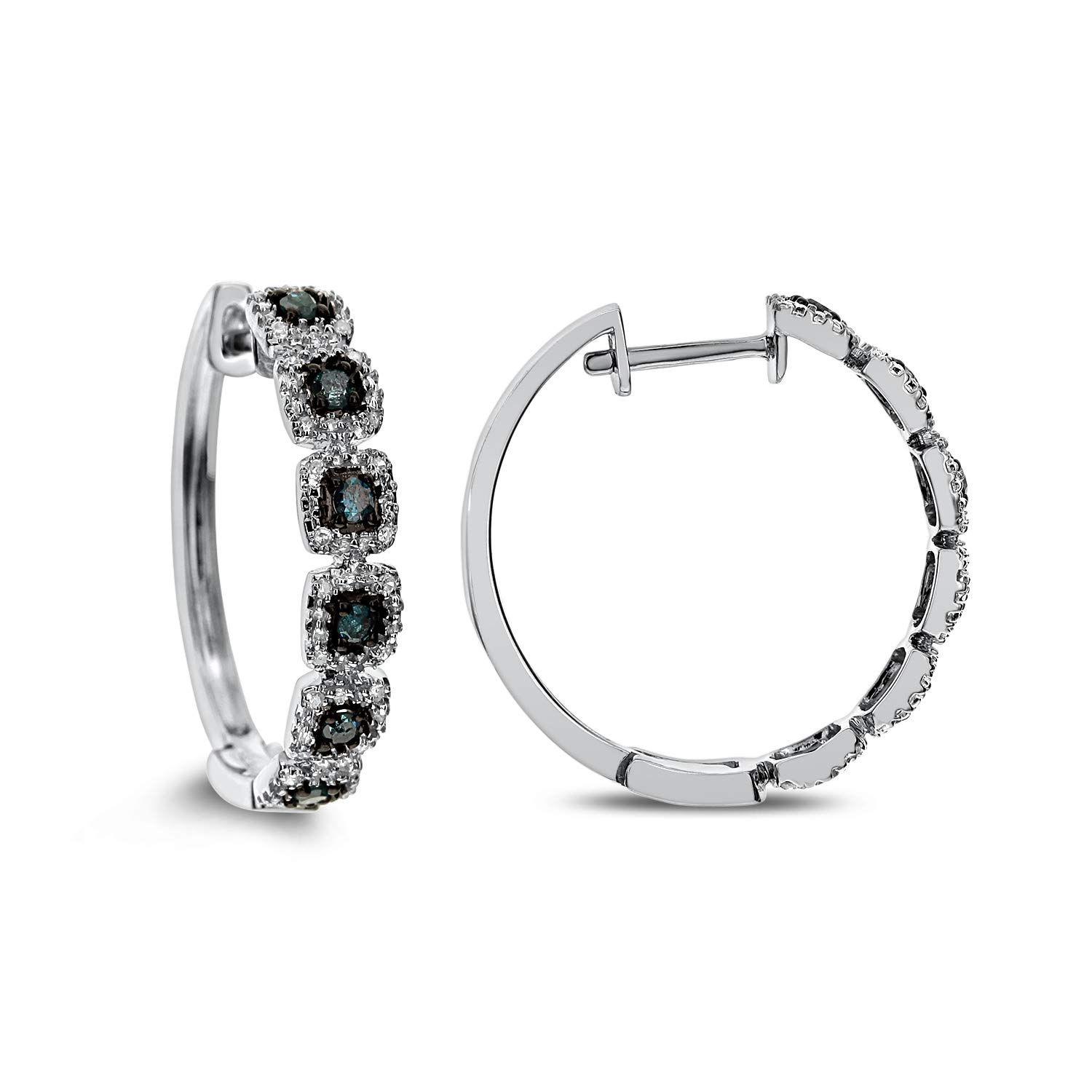 DIAMOND COUTURE 10K White Gold 0.09 Carat Round Cut And 0.22 Carat Blue Diamond Hoop Earring for Women and Girls, I-J Color, I1-I2 Clarity