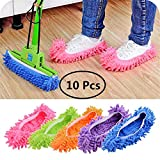 10 Pieces Unisex Mop Slippers Washable Lazy Shoes Microfiber Slipper Dust Floor Covers Multi-Function Room Cleaning Detachable Mop Shoes for Home Bathroom Office Kitchen House( Pink, Blue, Purple, Orange, Green)
