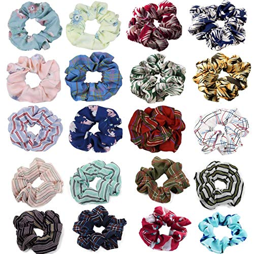 Hair Scrunchies Elastic Hair Ties Ponytail Holder Flower Hair Bands with Plaid/Chiffon Hair Accessories for Women Girls 20 Different Kind - Accessories Plaid