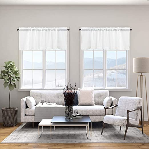 jinchan Sheer Valance for Living Room//Bedroom Voile Curtain 55 x 16 Grey