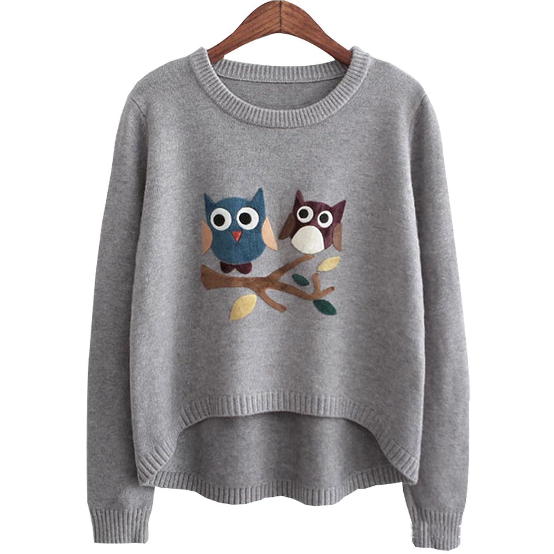 HEYFAIR Women's Casual Owl Pattern Pullover Sweater Jumper