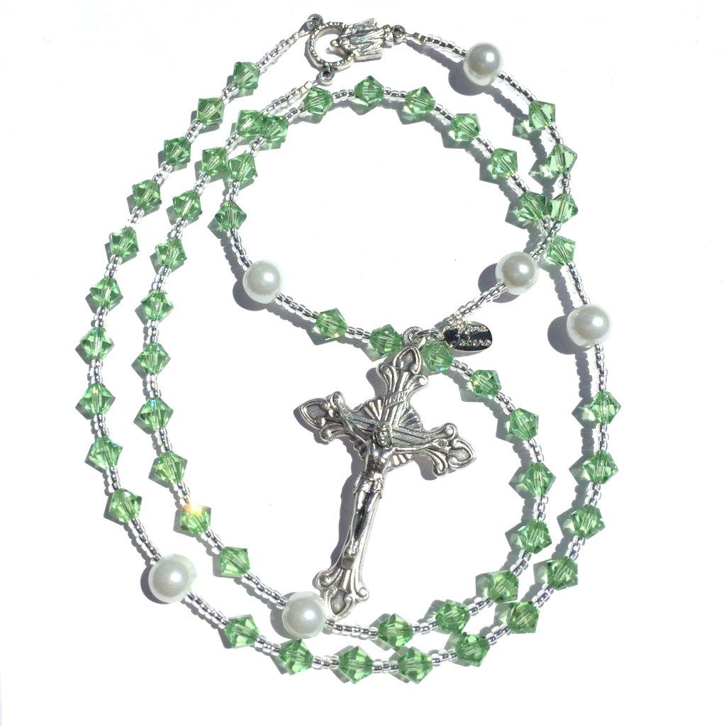 Rana Jabero Birthstone Catholic Prayer Rosary Beads Made with Genuine Crystals from Swarovski and White Glass Pearls - Keepsake Birthday Christmas Communion Baptism Gift (Peridot - August)