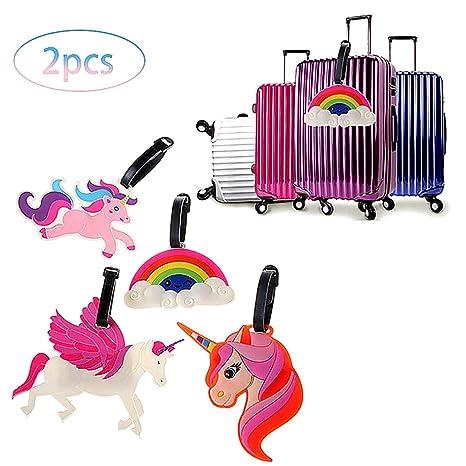 Viaje de 2 Piezas de Equipaje Unicornio Etiquetas de identificación Bolsa Etiquetas de Equipaje Tag Maleta