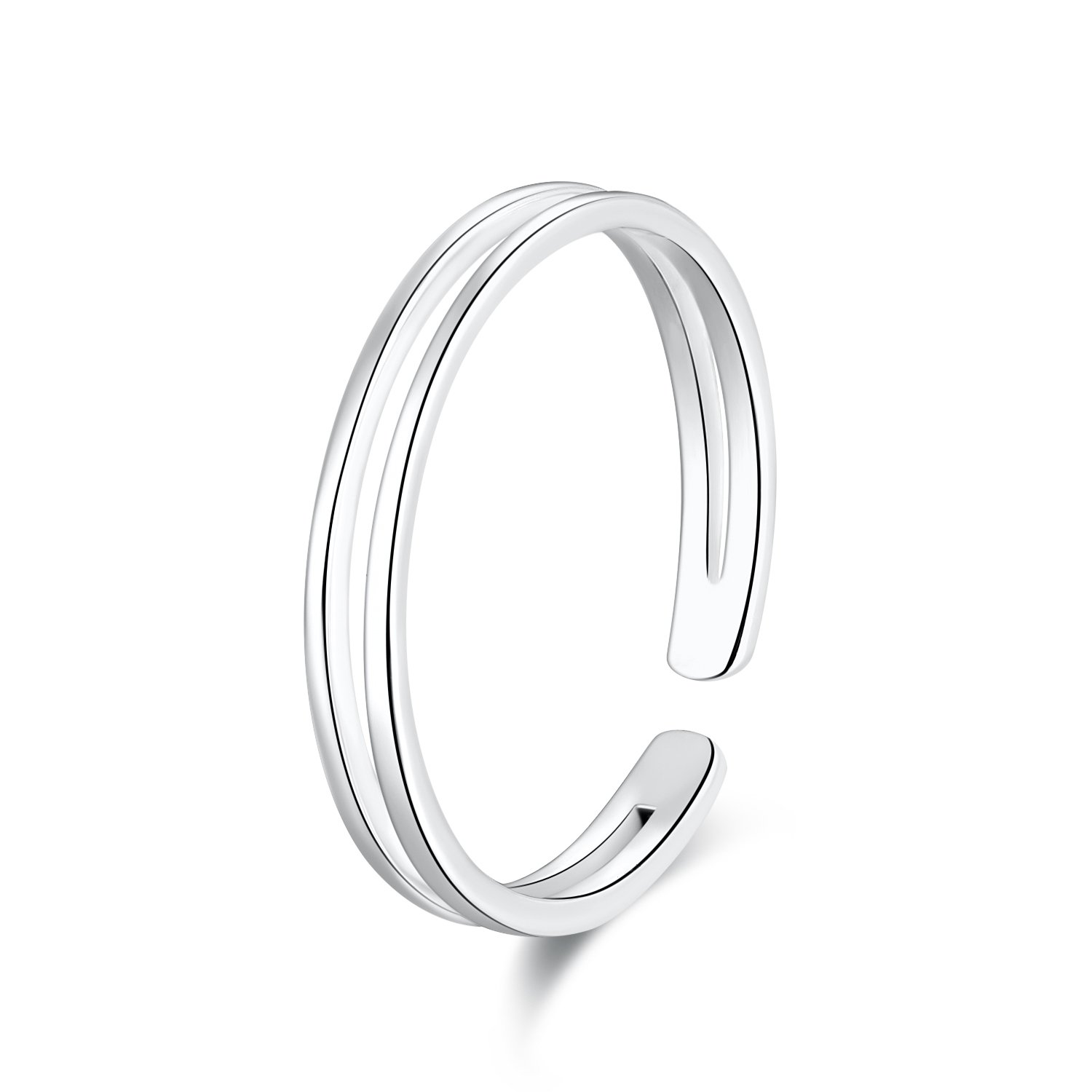 SILBERTALE 925 Sterling Silver Thin Line Minimalist Open Cuff Toe Ring Band for Women Size 2-4