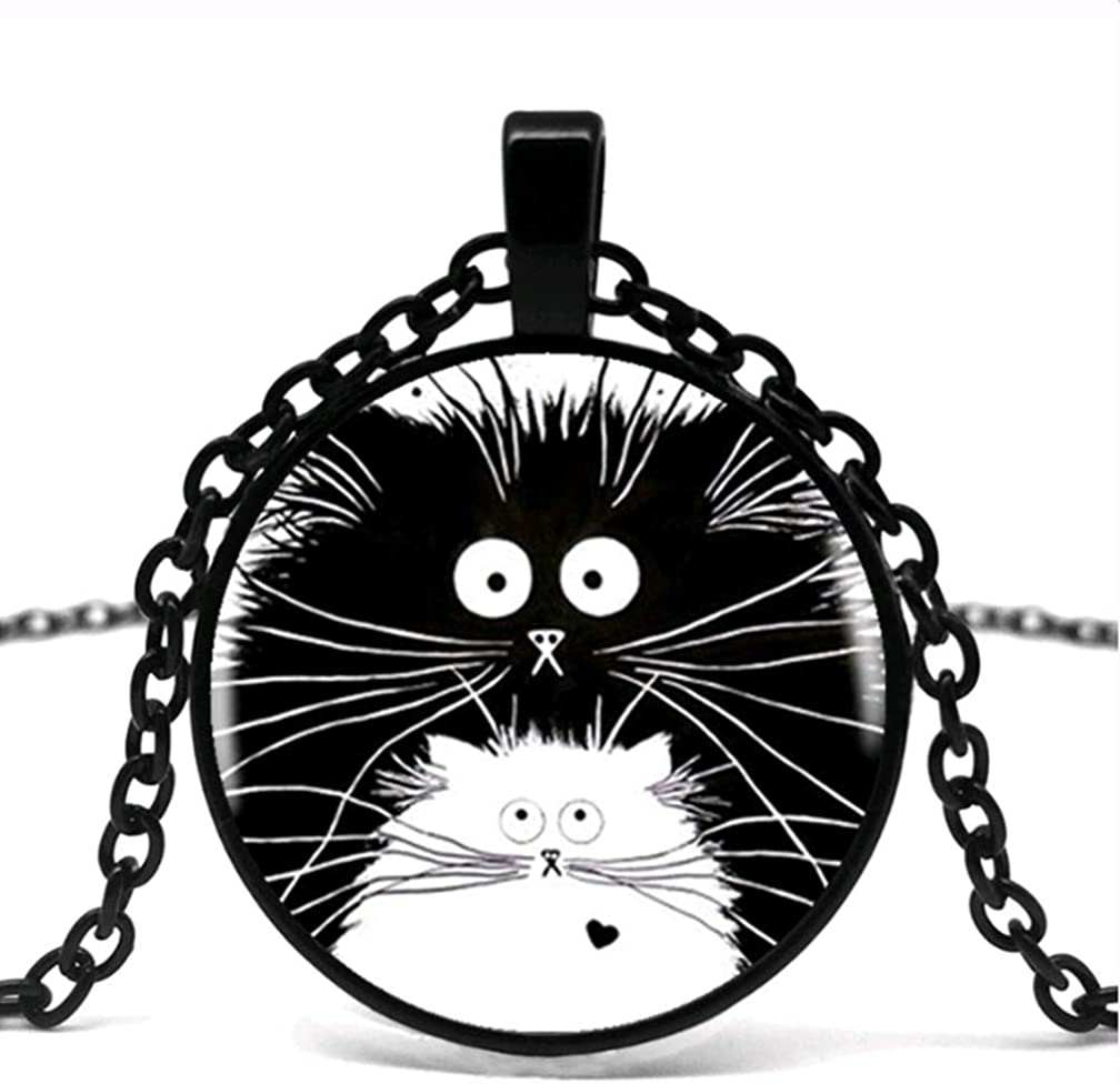 Cute White And Black Cat Pattern Glass Pendant Necklace Men And Women Wear Necklace Jewelry