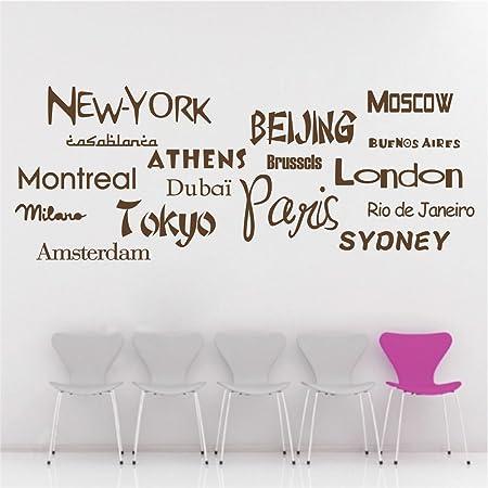 Nueva York Beijing Londres Tokio París Ciudad de nombre de etiqueta engomada de la pared letras, vinilo, marrón, large: Amazon.es: Hogar