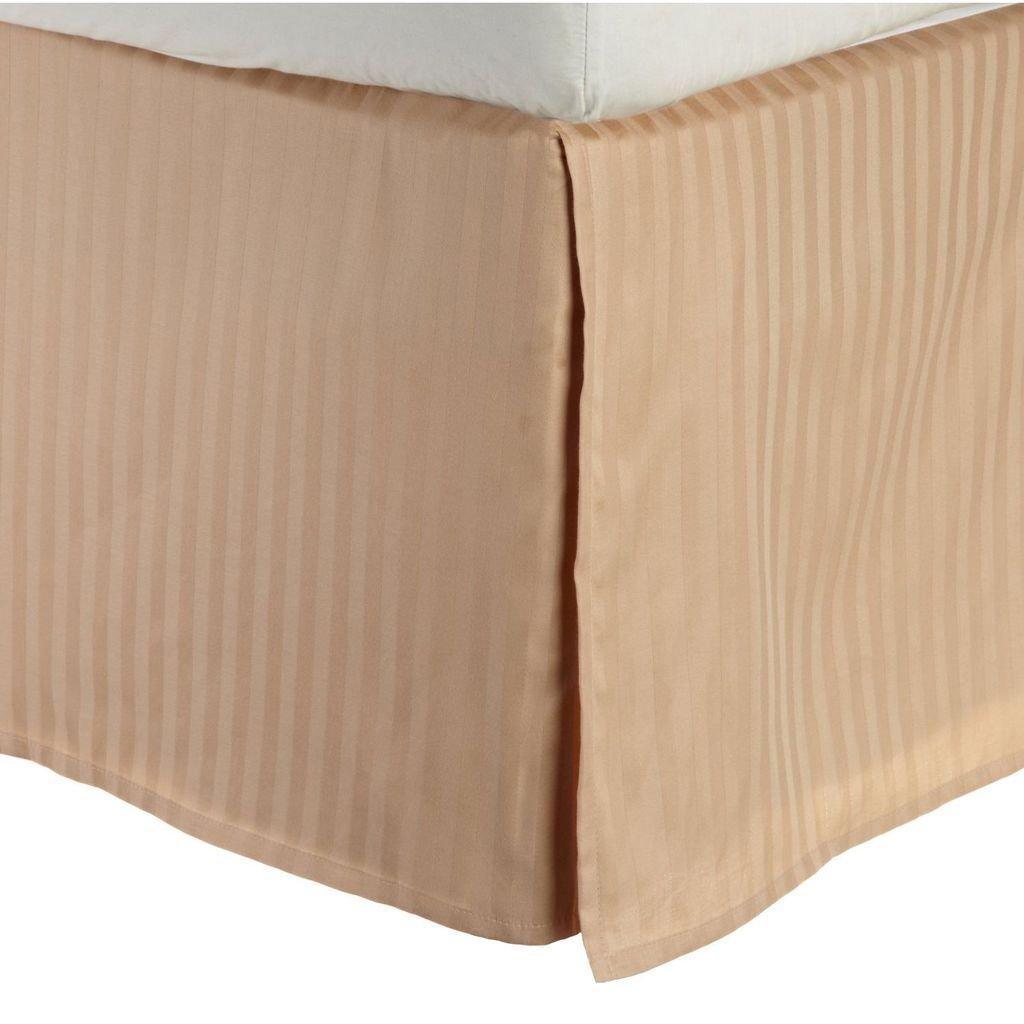 (King, Beige) - 100% Premium Combed Cotton 300 Thread Count King Bed Skirt Stripe, Beige B005TP6KA0 ベージュ キング