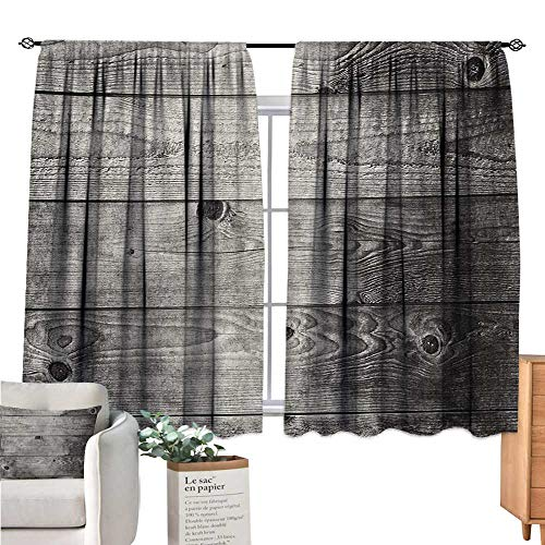 Linhomedecor Dark Grey Kitchen Curtain Ombre Style Grunge Wooden Planks Rustic Timber Oak Wall Rough Texture Image Black Pale Grey Curtain Holdback W63 x L63