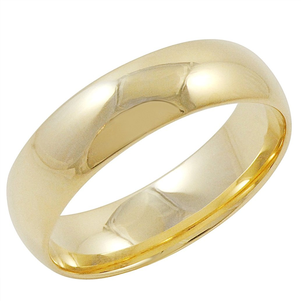 Men's 14K Yellow Gold 6mm Comfort Fit Plain Wedding Band (Available Ring Sizes 8-12 1/2) Size 11