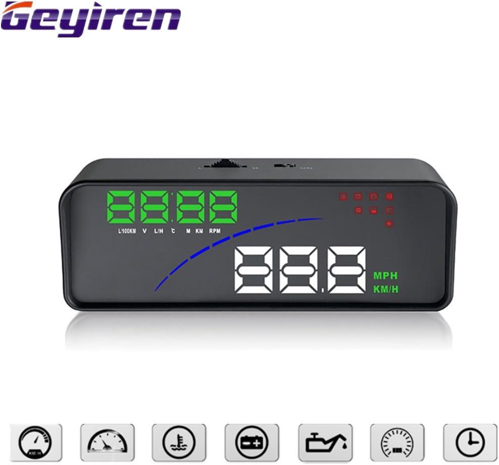 Geyiren Q7 HUD Blue Universal 5.5 Car GPS HUD Heads Up Display Windshield Screen Projector Vehicle Speed,Clock,Satellite Compass Altitude Plug /& Play