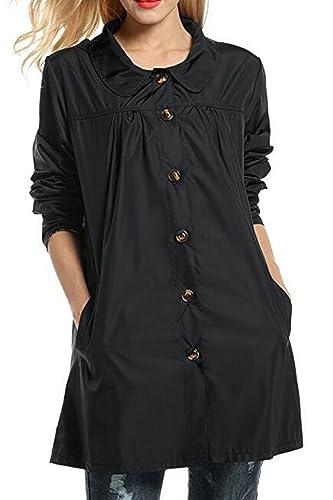 La Mujer Casual Boton Abajo Hodded Abrigo Impermeable Impermeable