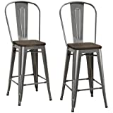 """DHP Luxor Counter Stool with Wood Seat and Backrest, 24"""", Antique Gun Metal"""