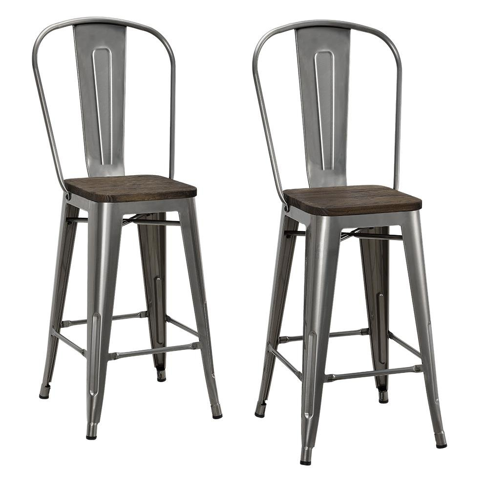 DHP Luxor Metal Counter Stool with Wood Seat and Backrest, Set of two, 24'', Antique Gun Metal