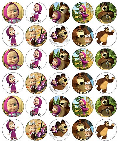 30 obleas comestibles para cupcakes, diseño de Masha y el oso