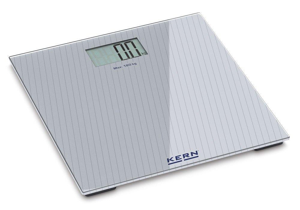 Bilancia pesapersone di design [Kern MGD 100K-1] Un design prezioso combinato con un piatto di pesata in vetro, Portate [Max]: 180 kg, Divisione [d]: 100 g, Piatto di pesata: LxPxA 300x300x19 mm