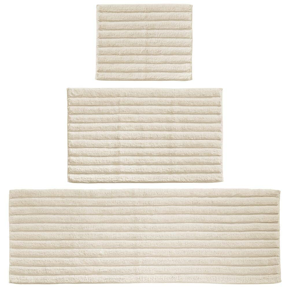 mDesign 100% Cotton Luxury Rectangular Spa Mat Rugs, Plush Water Absorbent - for Bathroom Vanity, Bathtub/Shower, Machine Washable - Ribbed Design - Runner, Standard & Small Rug - Set of 3 - Ivory
