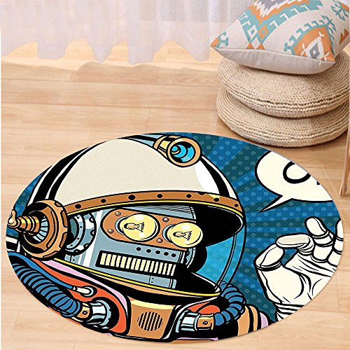 Futuristic Space Suit Costume (VROSELV Custom carpetModern Decor Futuristic Comics Super Heros Like Robot in a Spacesuit with OK Quote Artwork for Bedroom Living Room Dorm Multicolor Round 34 inches)