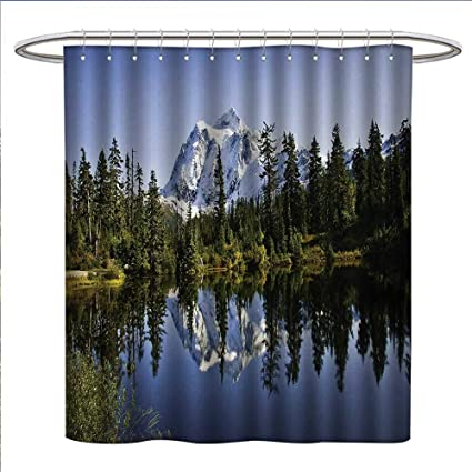 Anniutwo Landscape Shower Curtains Fabric Fall Colored Trees And Snowy Mountain With Crystal Lake Nature