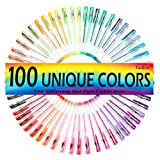 Tadkin Gel Pens Set of 100 - Metallic, Pastel, Neon, Classic and Glitter Coloring Pack