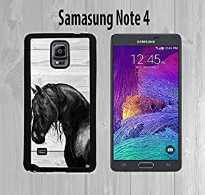 Black Horse on Wood Custom made Case/Cover/skin FOR Samsung Galaxy Note 4 SM-N910 - Black - Rubber Case ( Ship From CA) by runtopwell