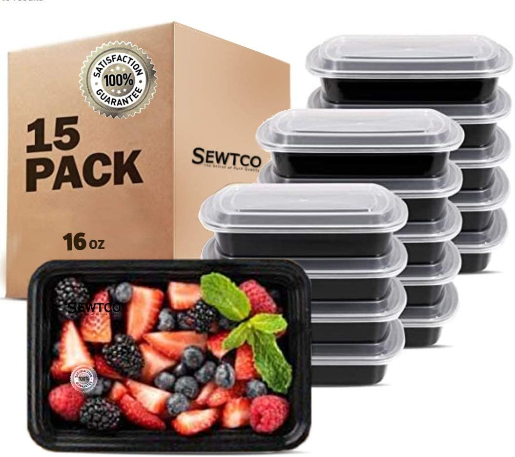 Meal Prep Containers 15 Pack Microwave Freezer Safe Food Storage Containers Plastic Food Prep Lunch Containers With Lid, Bento Box by SEWTCO (15 pack 16 oz)