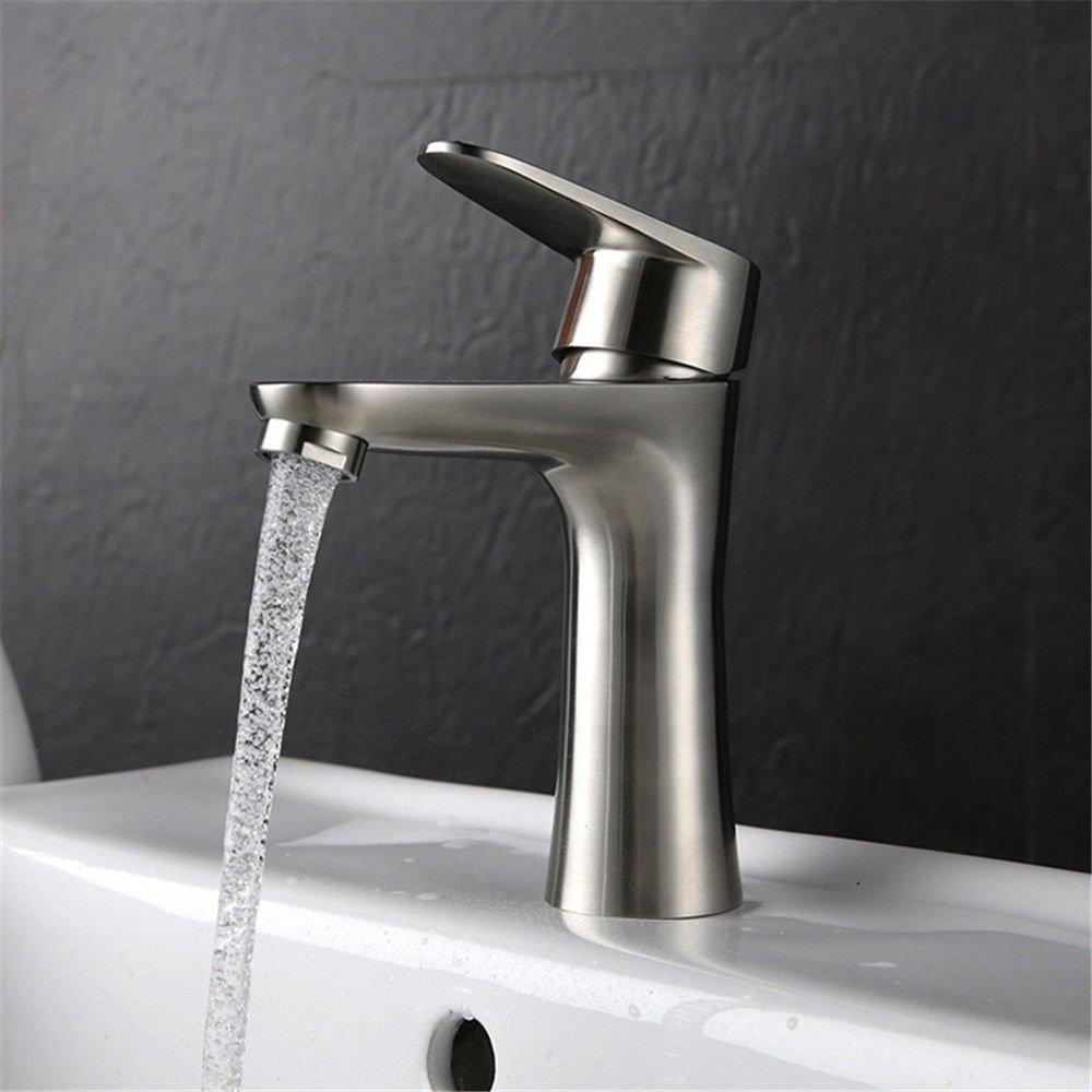 MEIBATH Waschtischarmatur Badezimmer Waschbecken Wasserhahn Küchenarmaturen Einhebelsteuerung, Warmes und Kaltes Wasser 304 Edelstahl 1 Bohrung Küchen Wasserhahn Badarmatur