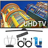 Samsung UN55KU7000 55-Inch 4K UHD HDR Smart LED TV KU7000 7-Series Cord Bundle Includes, Durable HDTV and FM Antenna + 2x 6ft High Speed HDMI Cable + Screen Cleaner (Large Bottle) for LED TVs