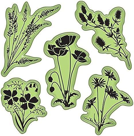 Inkadinkado Art Nouveu Floral Flower Patterns Images Set Cling Rubber Stamp