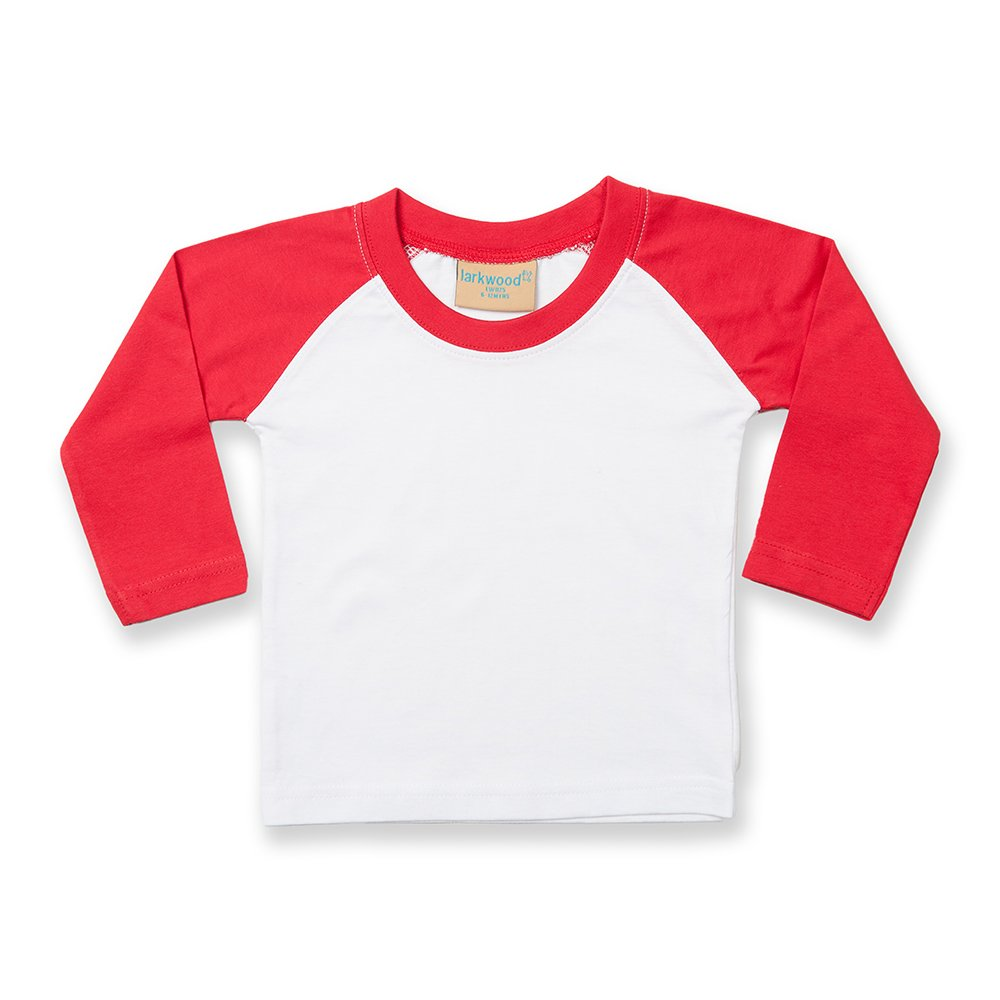 Larkwood Baby Long Sleeved Baseball T-Shirt (6-12) (White/Navy) UTRW792_18