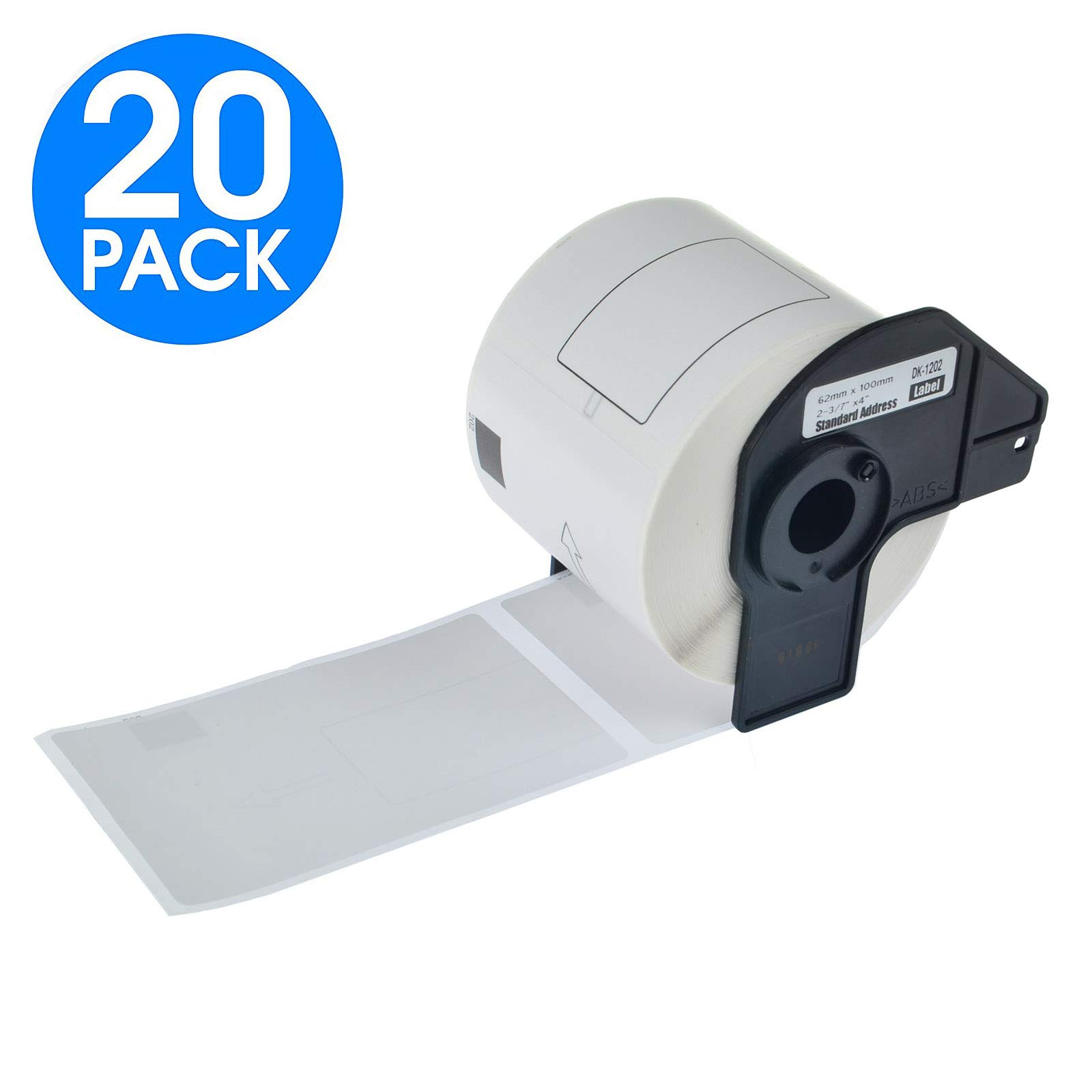KCYMTONER 20 Rolls DK-1202 Continuous Length White Address Paper Labels 2-3/7 Inches (62mm) by 100mm (4'') use in Brother P-Touch QL-Series Printers QL-560 QL-570 QL-1060N,Includes (20) Snap-On-Frame