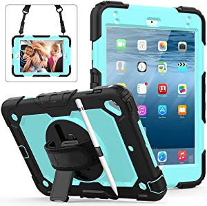 SZCINSEN Protective Cover for iPad Mini4,Mini5 Three-Layer Shockproof,360 Degree Swivel Kickstand&Hand Strap & Shoulder Strap PC+Silicone Protective Case (Color : Black+SKE Blue)