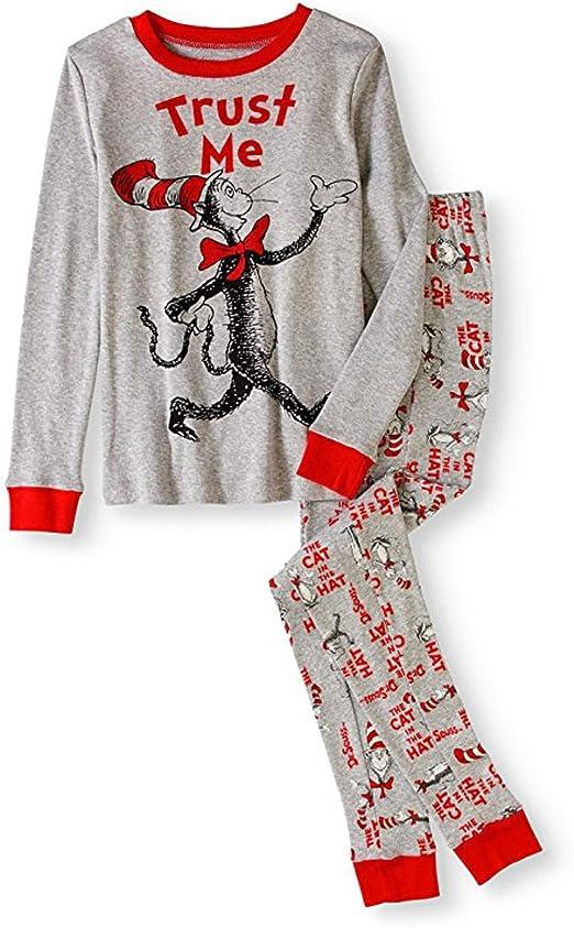 Dr Seuss Boys Cat in The Hat Trust Me Tight Fit Pajama Set Sleepwear