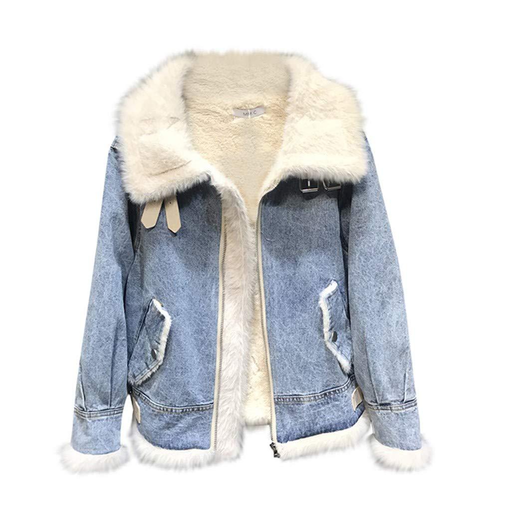 Yanvan Hood Winter Outwear Warm Overcoat for Women Winter Cotton Thick Denim Jacket Windbreaker Coat Outwear by Yanvan