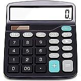 Calcolatrice, calcolatrice, Destop calcolatrice di base, con 12cifre, display LCD, grande tasto, calcolatrice solare (batteria inclusa) (nero) Small Nero