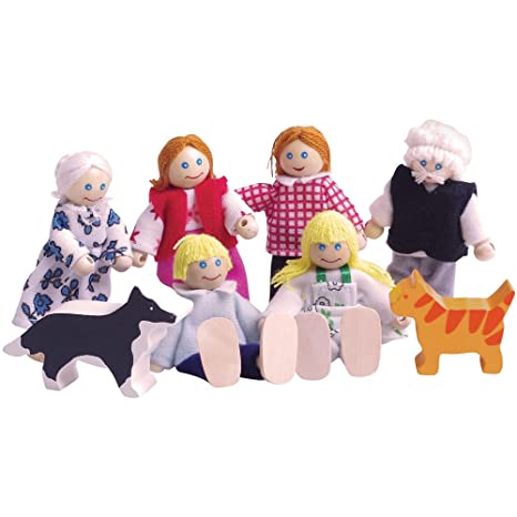 Bigjigs Toys Heritage Playset Wooden Doll Family   Dollhouse Figures