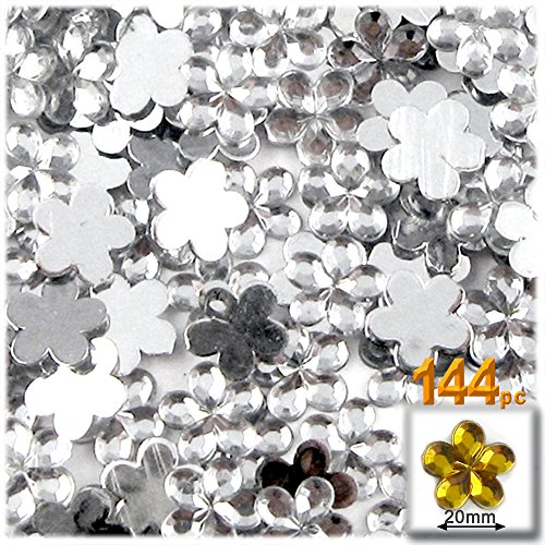 The Crafts Outlet 144-Piece Acrylic Aluminum Foil Flat Back Flower Rhinestones, 20mm, Clear