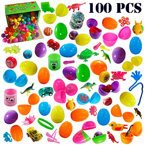 100 PCS Filled Easter Eggs Set, Prefilled Plastic Surprise Eggs with Variety of Popular Toys Inside, Novelty Toy Assortment, Great for Easter Egg Hunt, Party -