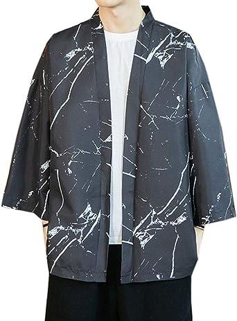 Aden Hombre Haori Chaqueta Vintage Estampado Holgado Cárdigan Kimono Estilo Japonés Camisa Tops: Amazon.es: Ropa y accesorios