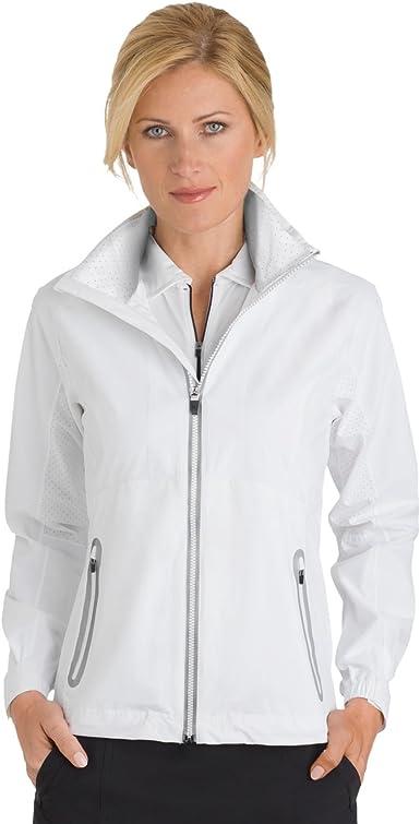 White//White X-Large Zero Restriction Womens Hooded Olivia Packable Rain Jacket