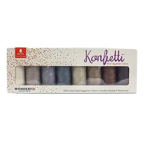 50wt double gassed Egyptian cotton WonderFil Specialty Threads Konfetti Thread Sterling Grey
