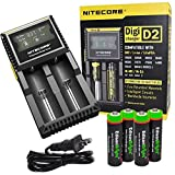 Nitecore D2 smart battery Charger with LCD display For Li-ion, IMR, LiFePO4 26650 22650 18650 17670 18490 17500 18350 16340 RCR123 14500 10440 Ni-MH And Ni-Cd AA AAA AAAA C Rechargeable Batteries with 4 x EdisonBright Ni-MH rechargeable AA batteries bundle