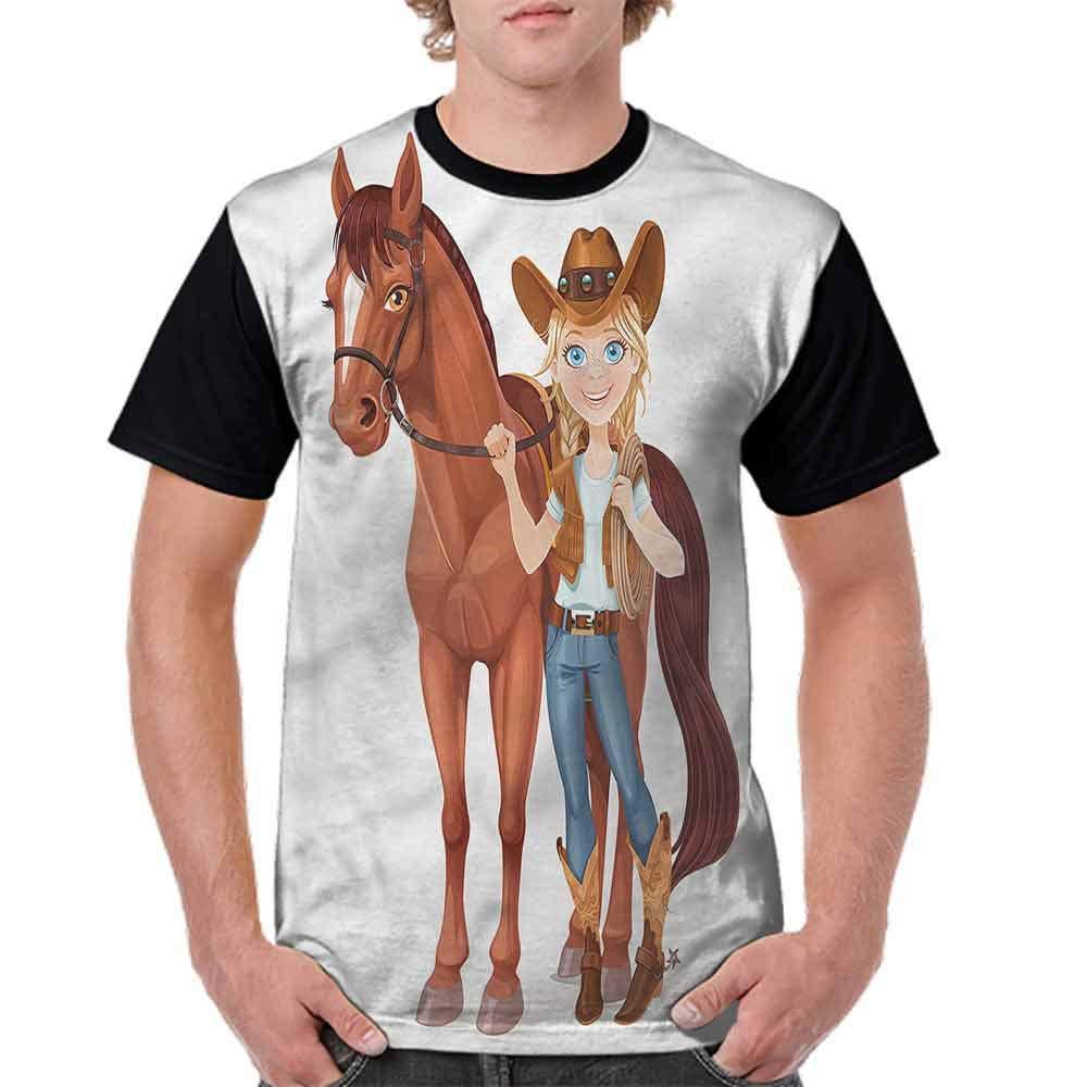 BlountDecor Classic T-Shirt,Cowboy Holds Reins Western Fashion Personality Customization