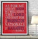 Washington Nationals baseball inspired Art Print, As for me and my House Parody, Custom & Personalized, UNFRAMED, Christmas, Fathers Day, Gift for him, All Sizes