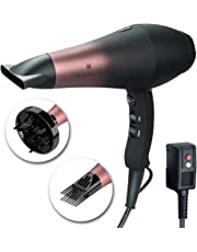 Wazor Salon Professional Hair Dryer with Ceramic Tourmaline Ionic &Powerful Blow Dryer,Far Infrared Hair Dryer Contains 3 Heat&2 Speed,1Cool Button Setting, 3 Blow Dry Attachment Like Diffuser for Hair Styling,AC Motor 1875W,Black&Red