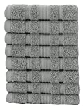 Ottomanson 8 Piece Pure Cotton Collection of 100% Authentic Towels, 13'' x 13'', Grey