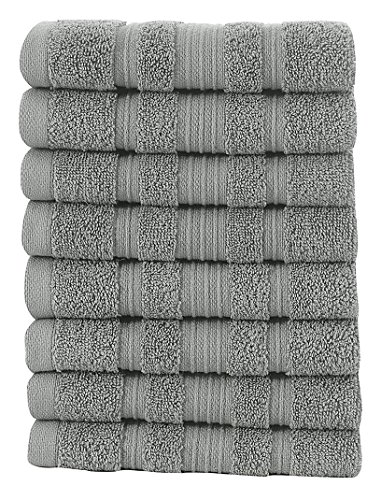 Ottomanson 8 Piece Pure Cotton Collection of 100% Authentic Towels, 13'' x 13'', Grey by Ottomanson