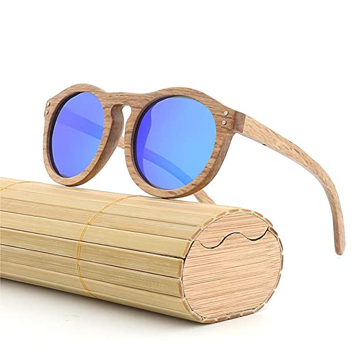 3af87cf8afe Amazon.com  AZB Retro Round Wooden Sunglasses Fashionista Equipment Beach  Party Couple Glasses(blue)  Clothing