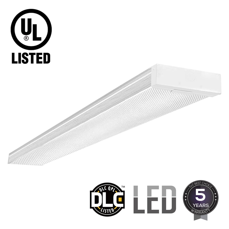 LEONLITE 42W 4ft LED Wraparound Light LED Garage Shop Lights, DLC & UL-listed, Surface Mount, 4000K Cool White, Integrated Low Profile Linear Flush Mount Ceiling Lighting, 5-year Warranty