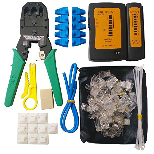 Professional Installation Kit (Network Cable Repair Tool Kit, ILIVABLE Professional Crimping 8P 4P 6P Crystal Head Rj45 Rj11 Cat5 Cat6 LAN Wire Tester Maintenance Instrument 10 in 1)